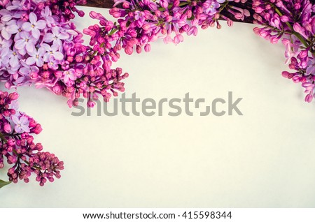 Beautiful lilac flowers on a white background. Greeting card with place for text Happy Mother's Day. Retro style toned picture. Mother's day. Mothers Day gift. Mothers Day. - stock photo