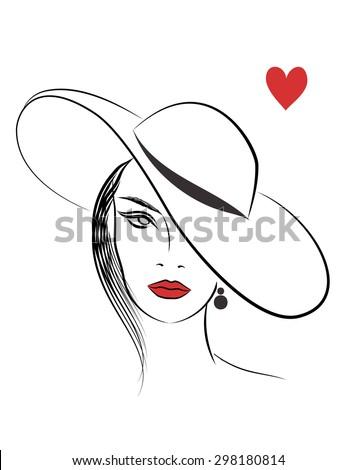 Beautiful line art fashion woman in hat - stock photo