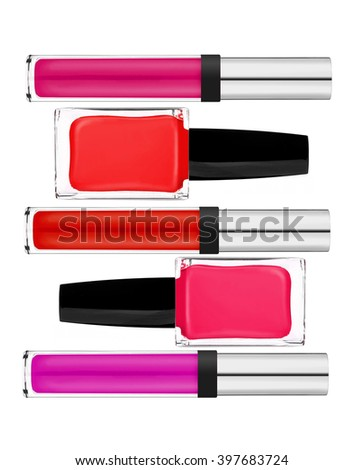 Beautiful lip gloss and nail polish isolated on white background - stock photo