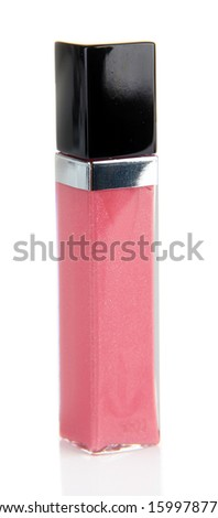 Beautiful lip gloss, isolated on white - stock photo