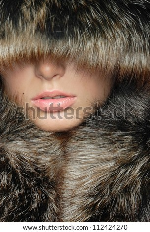 beautiful lips wrapped in a warm fur - stock photo