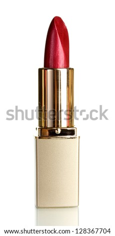 Beautiful lipstick isolated on white - stock photo