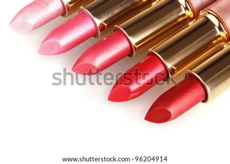 beautiful lipsticks isolated on white - stock photo