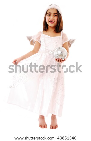Beautiful little angel isolated on white