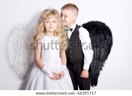 Beautiful little angels - stock photo