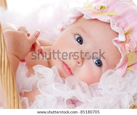 beautiful little baby girl in the basket - stock photo