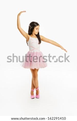 Beautiful little ballerina dancer - stock photo