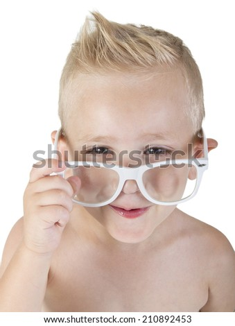 beautiful little boy in glasses smiling on white isolate