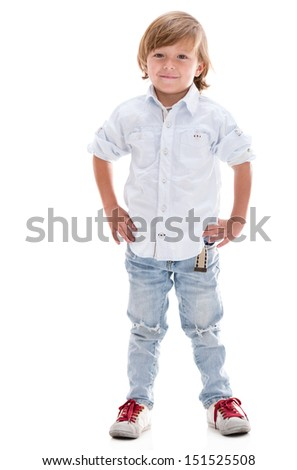 Beautiful little boy smiling - isolated over a white background  - stock photo