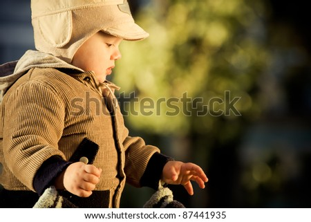 Beautiful little boy with autumn leaves outdoors - stock photo