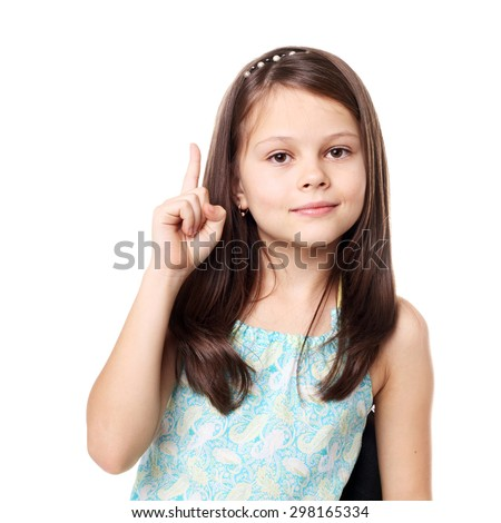 beautiful little brunette girl in studio isolated on white - stock photo