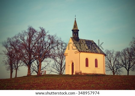 Beautiful little chapel. The Chapel of Mary Help of Christians (Europe - The city of Brno - Czech Republic) - stock photo