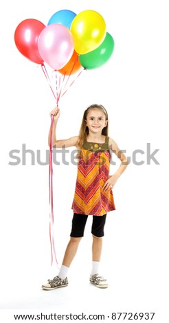 beautiful little girl and bright balloons isolated on white - stock photo