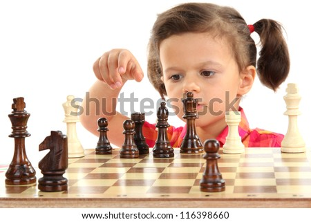 beautiful little girl and chess isolated on white