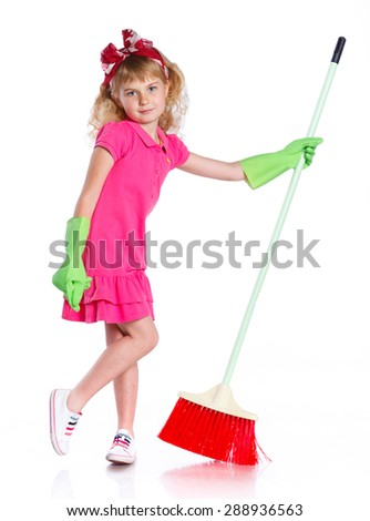 Beautiful Little Girl Doing Spring Cleaning Chores with Mop. Isolated on white background.