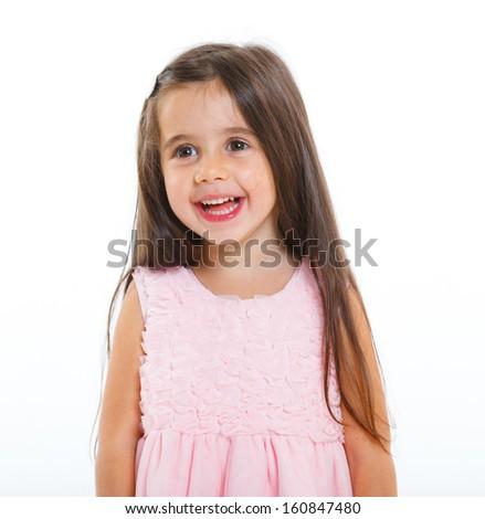 Beautiful little girl happy smiling on studio. Isolated white background - stock photo