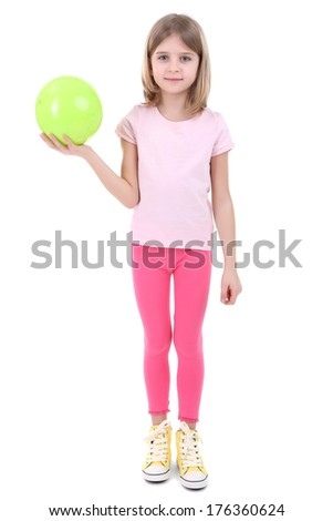Beautiful little girl holding ball isolated on white - stock photo