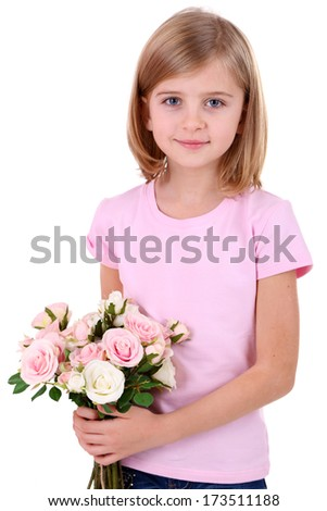 Beautiful little girl holding bouquet isolated on white - stock photo
