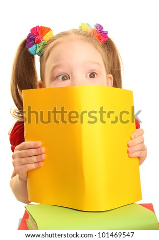 Beautiful little girl in a red suit with a bright books