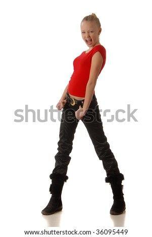 beautiful little girl in a red T-shirt and black trousers  on a light background