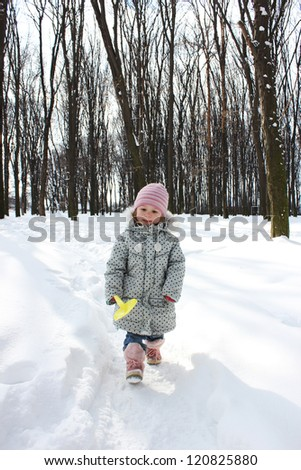 beautiful little girl in a winter forest
