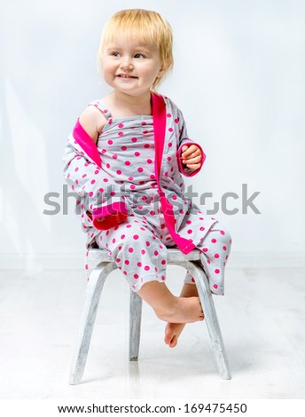 beautiful little girl in pajamas