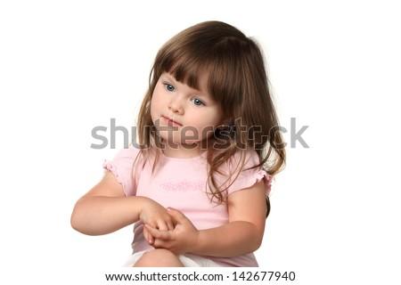 beautiful little girl in studio shutting - stock photo