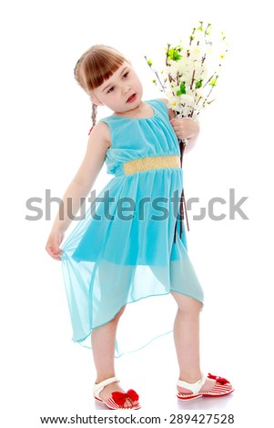 Beautiful little girl in transparent blue dress and flowers in her hands-Isolated on white background