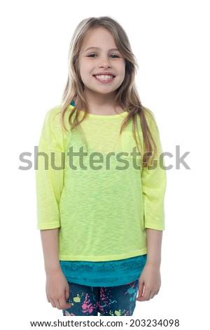 Beautiful little girl isolated on white - stock photo