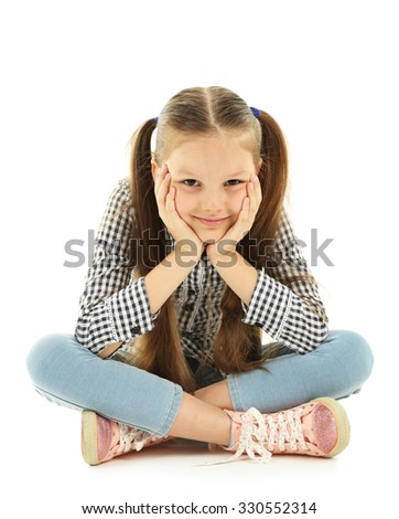 Beautiful little girl, isolated on white - stock photo