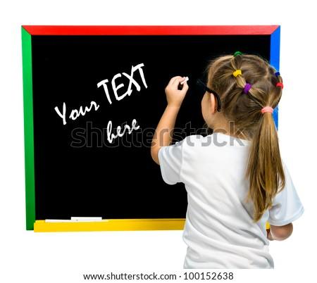 beautiful little girl on a board. stodio shot - stock photo