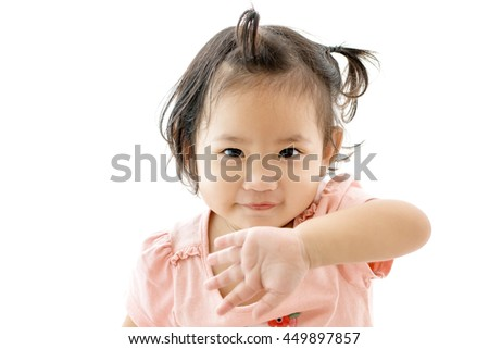 beautiful little girl on a white background