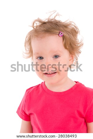 Beautiful little girl on the white background