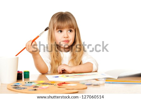 Beautiful Little Girl Painting, isolated on white
