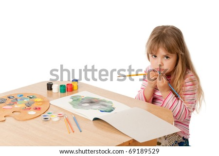 Beautiful Little Girl Painting, isolated over white