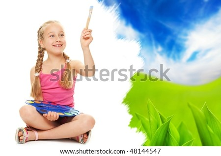 Beautiful little girl painting nature landscape - stock photo
