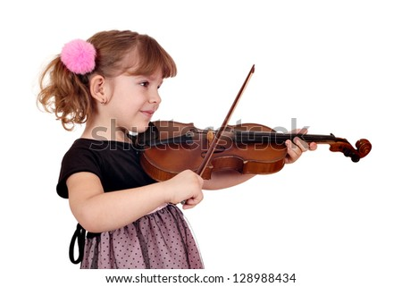 beautiful little girl play violin on white - stock photo