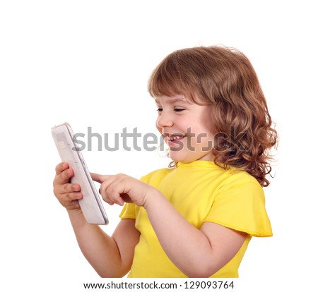 beautiful little girl play with tablet pc portrait - stock photo