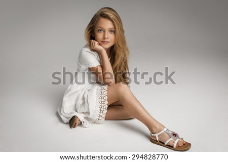 Beautiful little girl posing - stock photo