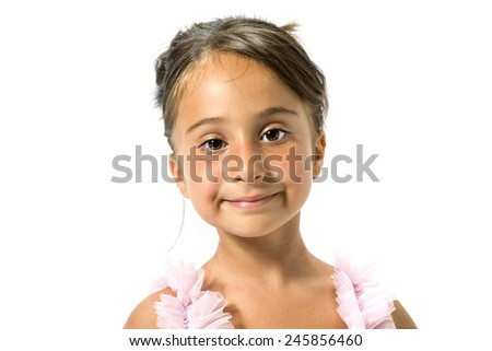 Beautiful little girl posing in ballet with tutu - stock photo