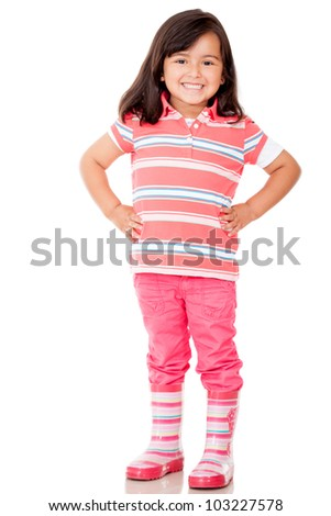 Beautiful little girl smiling - isolated over a white background - stock photo