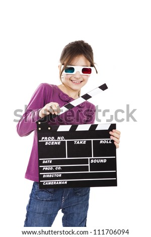 Beautiful little girl wearing 3d glasses and holding a clapboard, isolated over a white background - stock photo