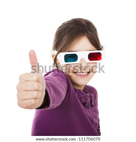 Beautiful little girl wearing 3d glasses, isolated over a white background - stock photo