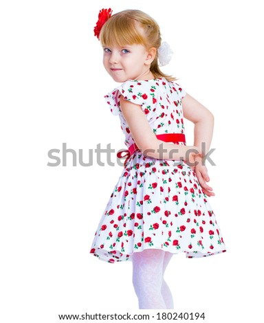 beautiful little girl with a smile jumping on white background