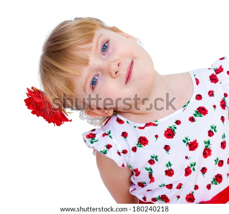 beautiful little girl with a smile looking, isolated on white
