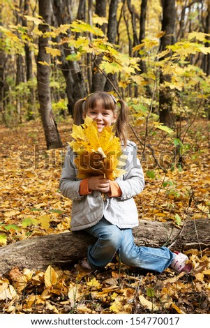 Beautiful little girl with autumn leaves outdoors