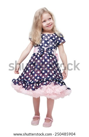 Beautiful little girl with blond hair isolated over white background - stock photo