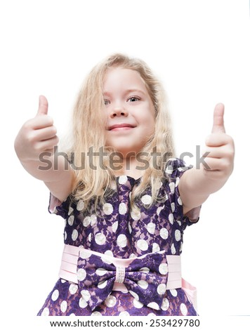 Beautiful little girl with blond hair showing thumbs up isolated  - stock photo