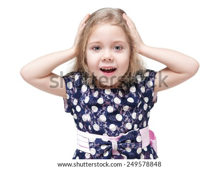 Beautiful little girl with blond hair surprised isolated over white background - stock photo