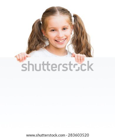 beautiful little girl with  board isolated on a white background - stock photo